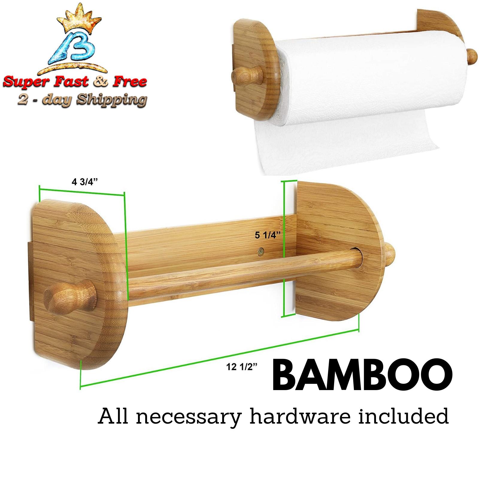 Wood Wooden Paper Towel Holder Vintage Wall Mount Farmhouse Kitchen Rack Solid For Sale Online Ebay