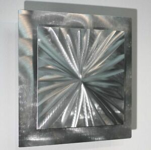 Metal Abstract Modern Silver Wall Art Sculpture Contemporary Decor By Jon All