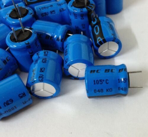 0.1mF 20/% 63V * Nuevo ** Condensador electrolítico Radial x50 BC COMPONENTS 100uF
