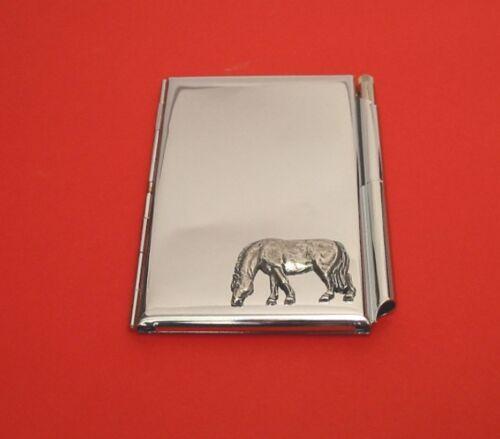 Grazing Horse Pewter Motif on Chrome Notebook Card Holder /& Pen Christmas Gift
