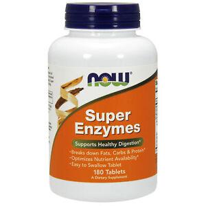 Now Foods Super Enzimi Digestivi 180 Compresse   Indigestione Bruciore di stomaco reflusso