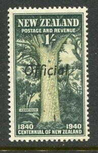 NEW-ZEALAND-1940-centennial-1-kauri-tree-OFFICIAL-overprint-mnh