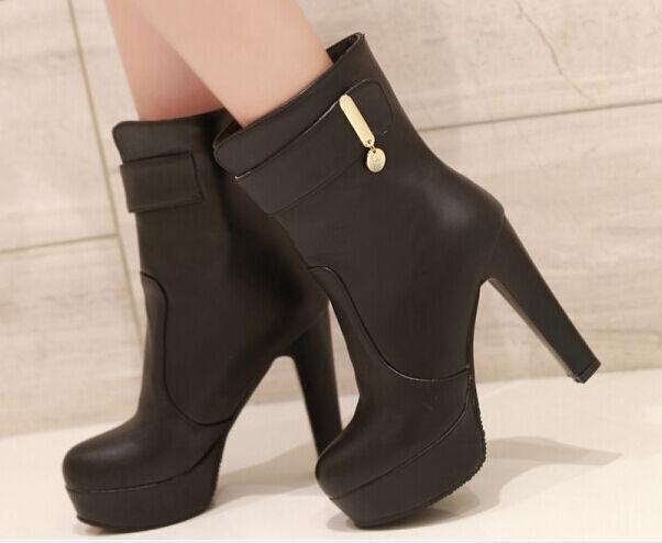 boots Damens's schuhe schwarz high heel 12 cm like Leder comfortable 9142