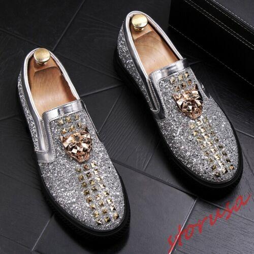 Men Nightclub Loafer Shoes Glitter Sequin Metal Decor Flats Rivet Leateher Shoe