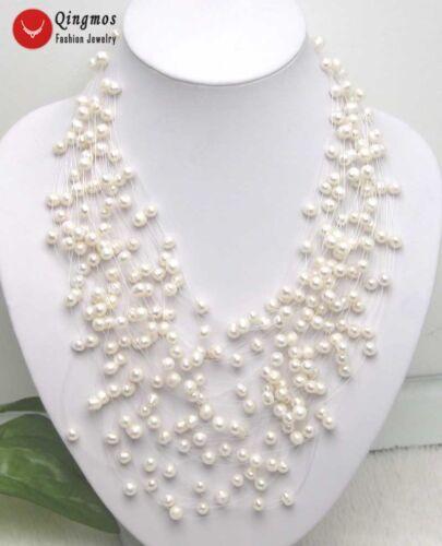 Blanc 6-7 mm naturelle d/'eau douce collier de perles pour femmes Starriness 20 brins