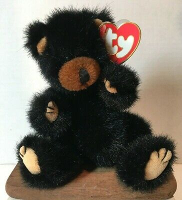 Ty Attic Treasures Ivan the black bear with jointed limbs mint w// Tag