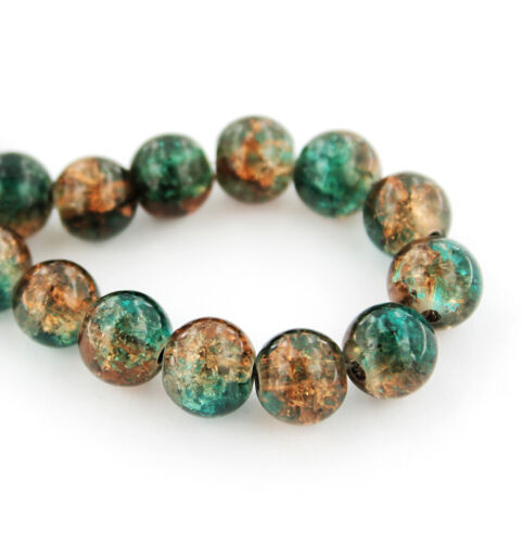BD824 Tones of Forest Green and Sienna Brown 20 Crackle Glass Beads 8mm