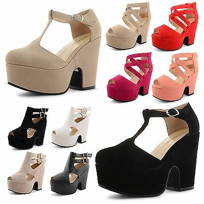 Womens Ladies Peep Toe Strappy Platform Block High Heel Shoes Sandals Size UK