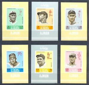 Ajman 1969 Sport. Baseball, 6 delux sheets. MNH