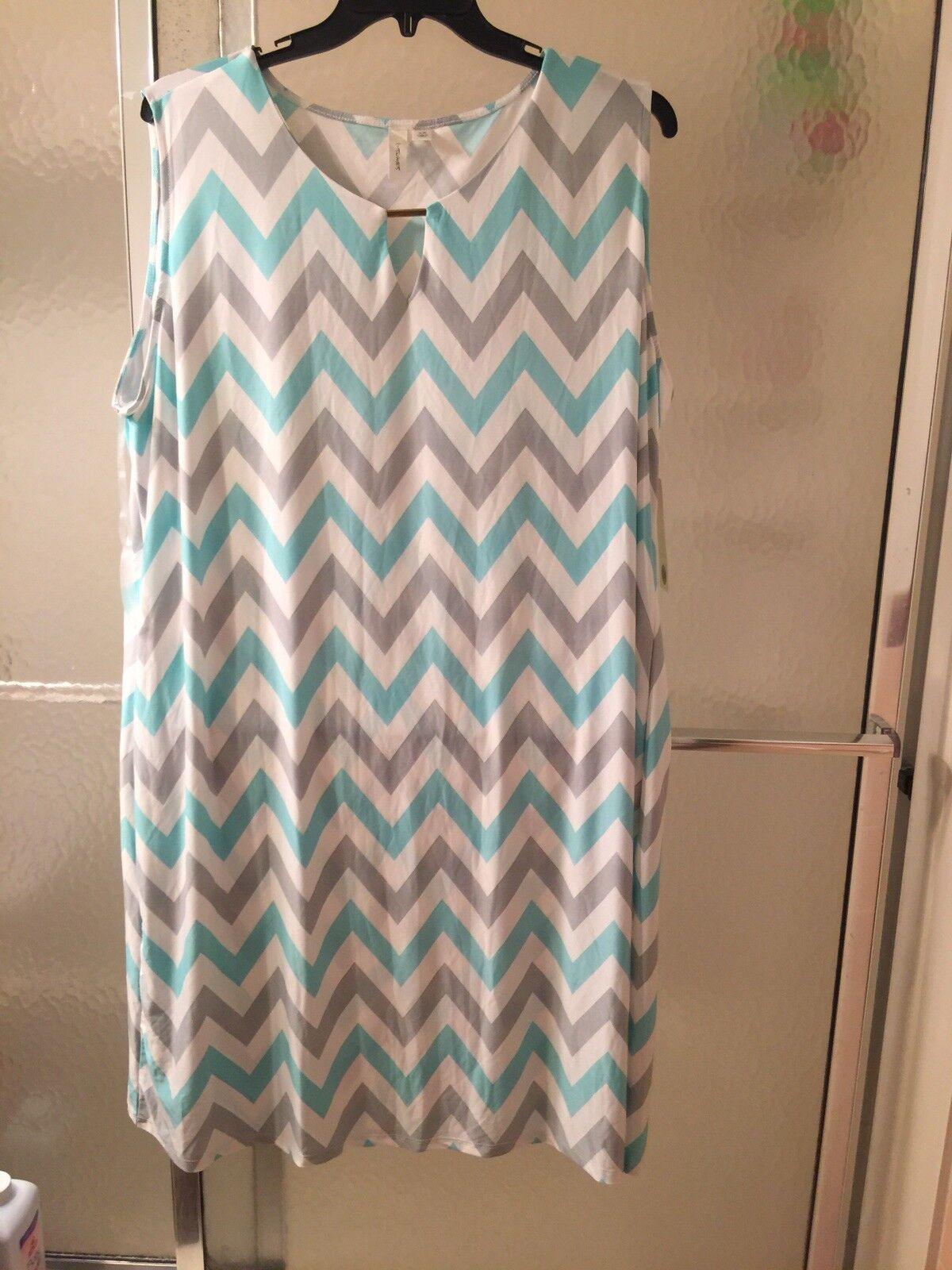NWT Tacera Light green & white Gown; Sz3X; Sleeveless; Knee Length;  60