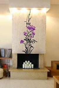 Giant-Colore-Fleurs-Mur-Decal-Autocollant-Floral-Chambre-Design-40-cm-x-100-cm-UK
