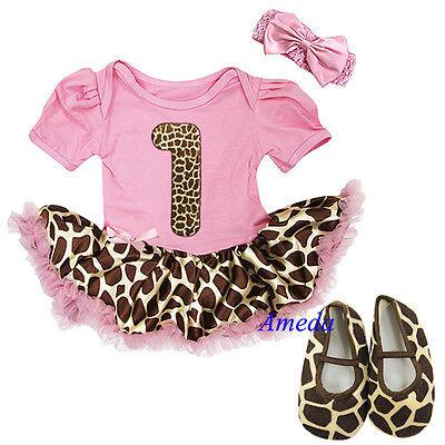 Baby Pink Giraffe 1st Birthday Romper Pettiskirt Tutu Party Dress Bodysuit Shoes