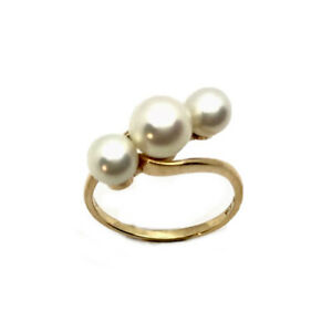 Vintage 14CT Gold Mikimoto Pearl Twist Ring Size L US 5.75 GIFT BOXED