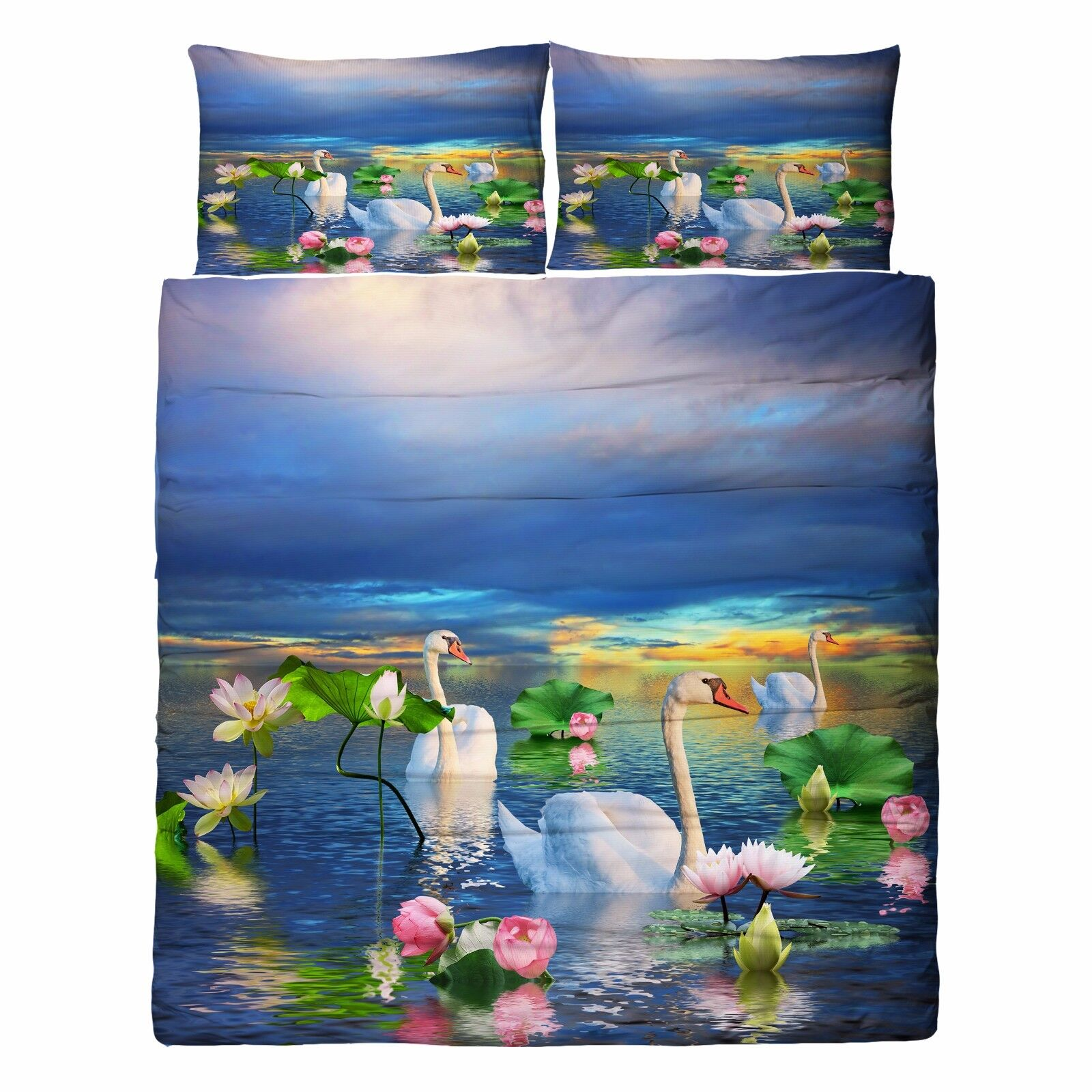 3D Lotus Sawn Lake 86 Bed Pillowcases Quilt Duvet Cover Set Single Queen UK Kyra