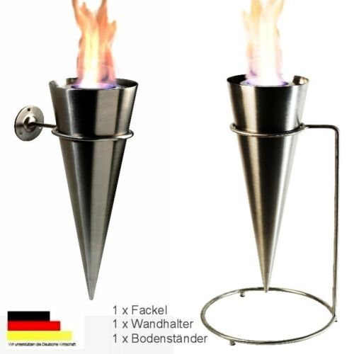 Wandfackel Bodenfackel Fackel Feuerfackel Gartenfackel Cylinder aus Edelstahl