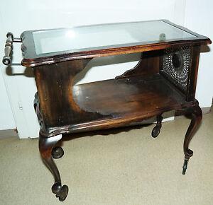 teewagen antik holz geflecht glasplatte vintage. Black Bedroom Furniture Sets. Home Design Ideas