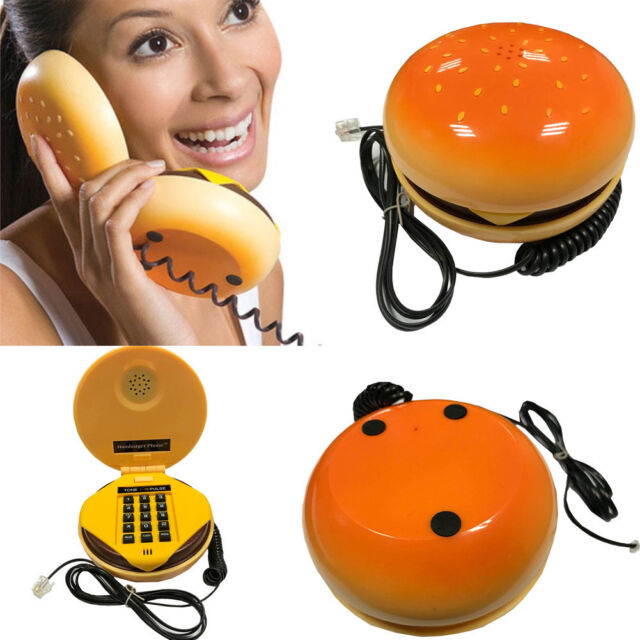 Hamburger Shape Cheeseburger Burger Telephone Novelty Home Corded Phone Gift US
