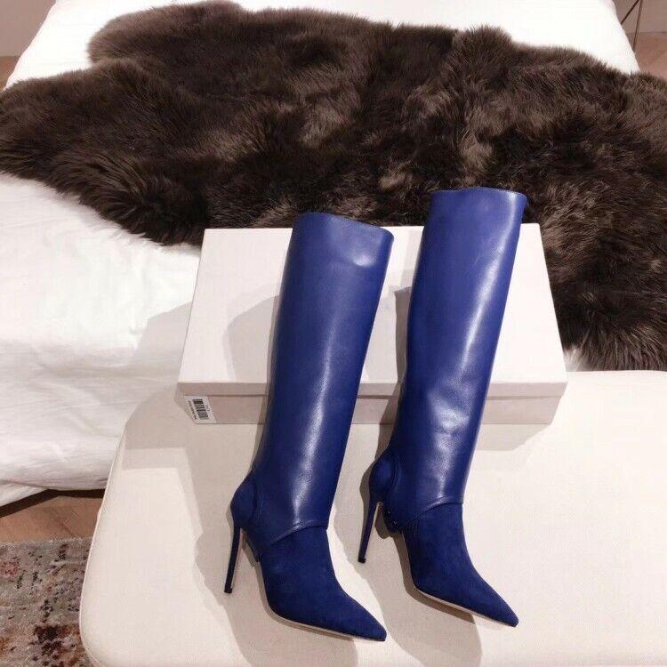 mode Kniehohe Daherrentiefel Spitz Stilettos Super High Heel 34-43 Schlupf Sexy