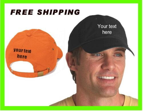 BUY YOUR CUSTOM EMBROIDERED PERSONALIZED CAP HAT BLACK RED /& KHAKY WHITE