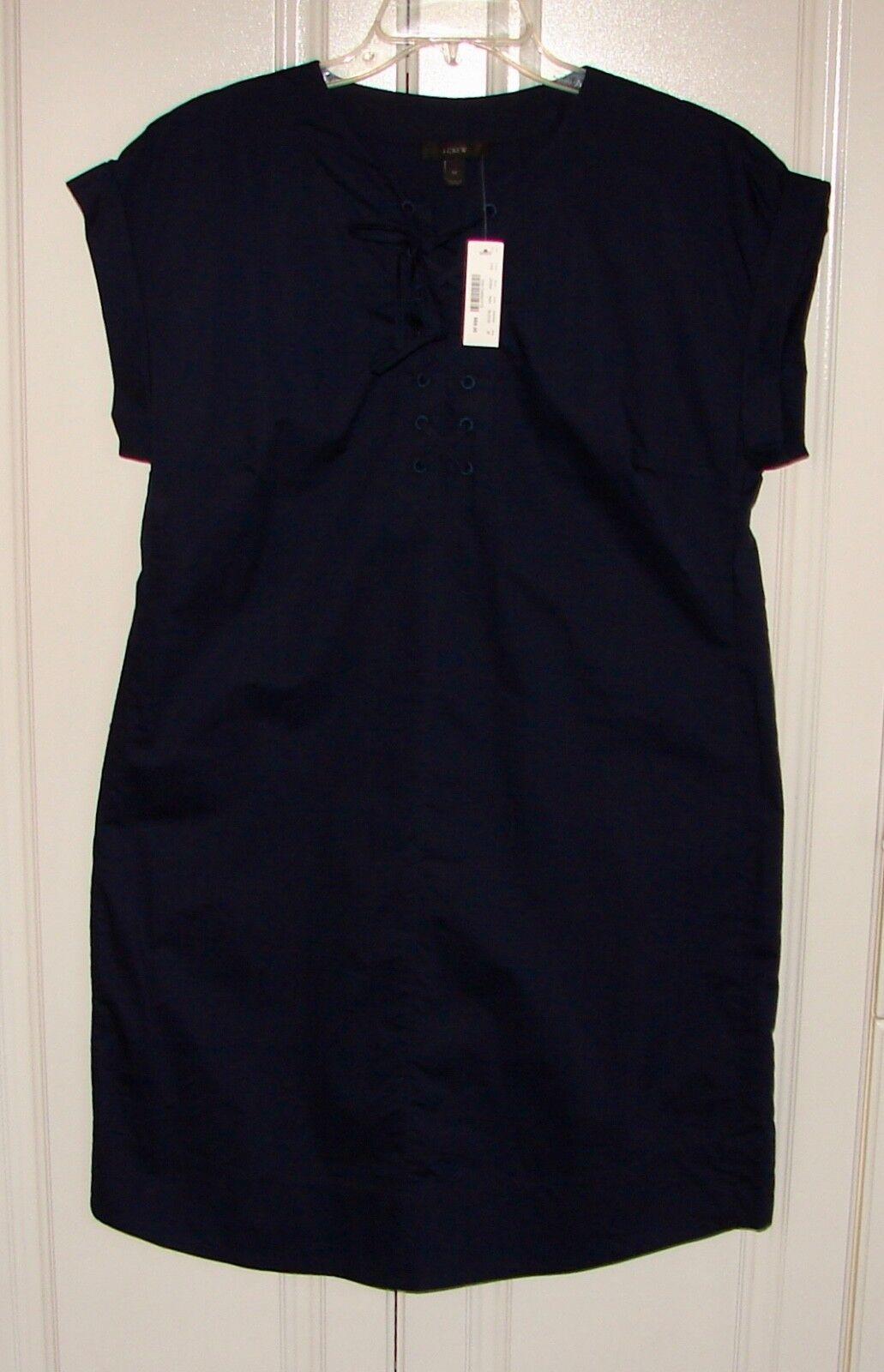 NWT J Crew sz M navy Blau lace up cotton shift dress  G5359