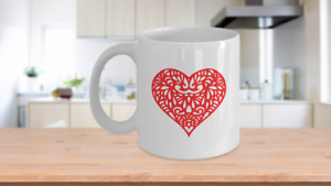 Red Heart Mug White Coffee Cup Funny Gift for Lover Valentine Partner Wedding