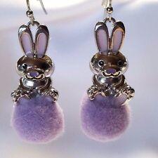 """Bunny Earrings Silver Tone Rabbit Purple Pompom Metal Pierced Hook 1.5"""""""