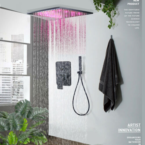 Shower Faucet System Combo 12 inch Rainfall LED Oil Rubbed Bronze Hand Shower