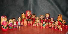 BIG LOT 39 Vtg Soviet Russian MATRYOSHKA Wooden Nesting Dolls USSR Matriochka