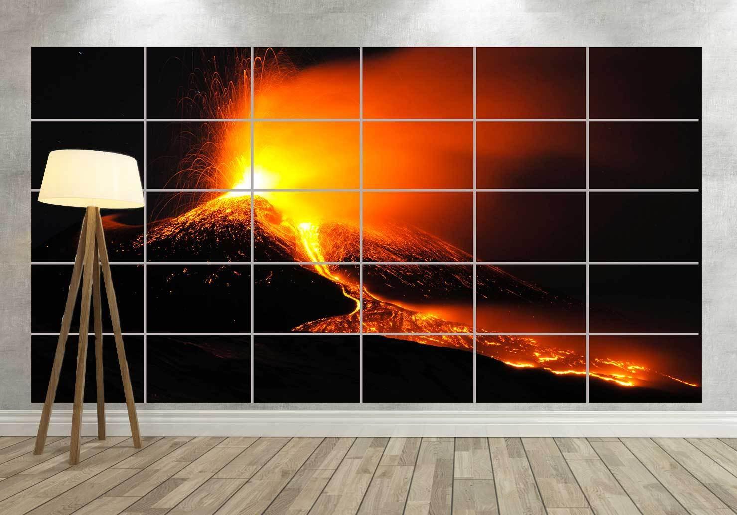 Volcano Eruption Volcano in Eruption Giant Poster Home Deco Salon 252cmx150