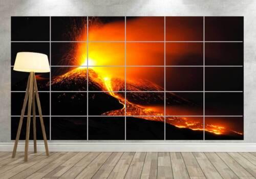 VOLCANO ERUPTION VOLCAN EN ERUPTION Geant Poster Home Deco Salon 252cmX150