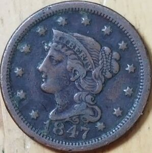 1847-Braided-Hair-One-Cent-Check-it-Out-KM-67-AA183