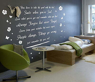 'Smile, Life goes on' Wall Art Quotes Vinyl Sticker, DIY Wall Decal HIGH QUALITY