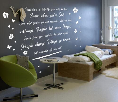 """DIY Mur autocollant de haute qualité /""""sourire la vie continue/"""" Mur Art Autocollant Vinyle citations"""