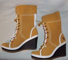 """US POLO ASSN. """"Candy"""" Size 8.5 Tan/Light Brown Wedge Lace Up Boots"""