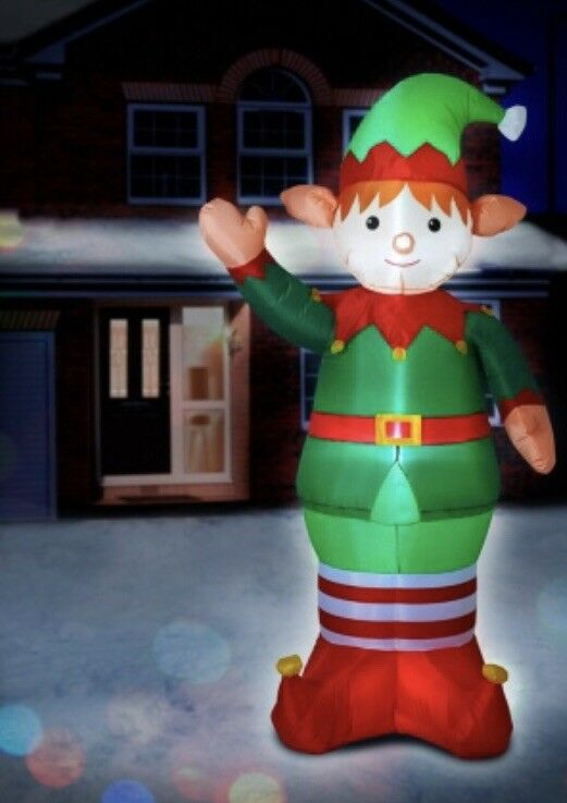 NEW CHRISTMAS WORLD GIANT 6FT INFLATABLE LED LIGHT UP ELF USE INDOOR OR OUTDOOR