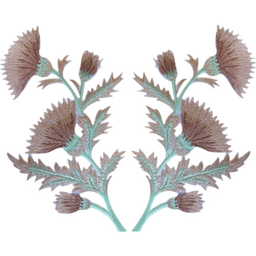 Pair of Beige Tan Brown Thistle Flower Patches Iron Sew On Clothes Flowers Patch