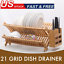 miniature 1 - 2-TierBamboo Dish Drying Rack Collapsible Dish Drainer Dish Holder