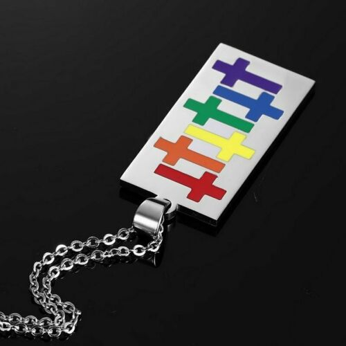 Women Men Stainless Steel Rainbow Pendant Necklace LGBT GAY Couple Jewelry Gifts