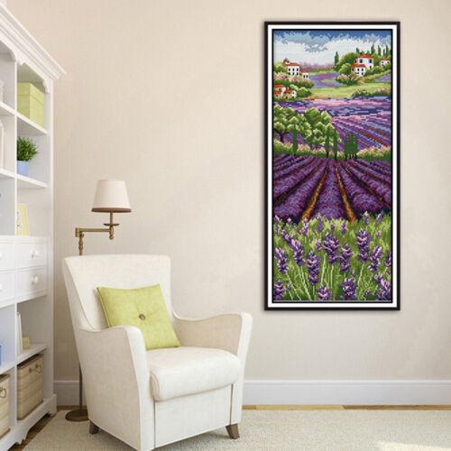 Kreuzstich Stickerei DIY Handarbeit Stickpackung Set Lavendel Blume DIY