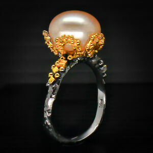 Classic-Jewelry-Girl-Design-Natural-Pearl-925-Sterling-Silver-Ring-RVS46