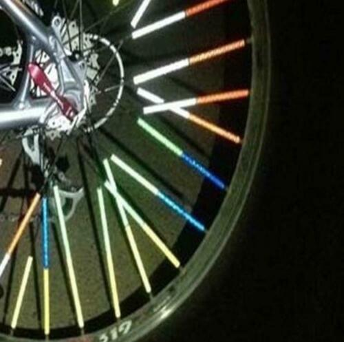 BRIGHT Bike REFLECTOR Lot SPOKE light SAFETY Rainbow CYCLE Tire Night Ride Race