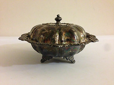 Vintage Metal Butter Dish Bowl Silver Tone Dining Kitchen Table Round