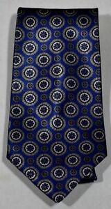 JOHN-WEITZ-Dark-Blue-Gray-Black-Circle-Medallion-Silk-Blend-Neck-Tie-USA