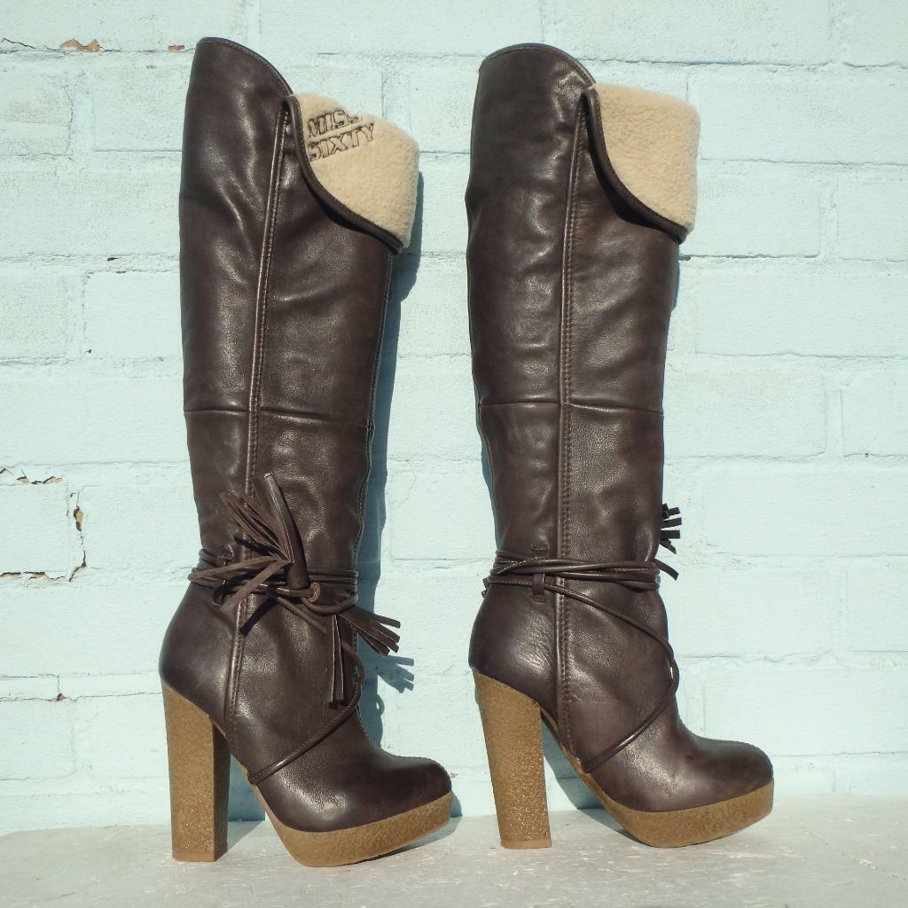 Miss SIXTY Leather Stiefel Uk 3 Eur 36 damen Sexy Platform Pull on braun Stiefel