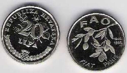 Croatia 20 Lipa 1995 FIAT PANIS FAO 50 years food for all Flower Plant UNC
