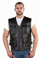 Men's Concealed Carry Leather Cargo Vest - Free Shipping