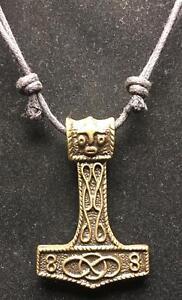 Thor/'s Hammer Bronce Colgante Collar Vengadores Vikingo Odin Mjolnir feeanddave