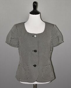 Ann-Taylor-Women-039-s-Grey-Black-Checkered-Short-Sleeve-Scoop-Neck-Blazer-6-NEW-80