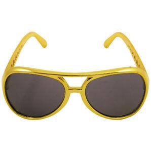 ANOS-70-70-039-s-70-Disfraz-Rock-Estrella-Gafas-de-sol-dorado-Elvis-NUEVO
