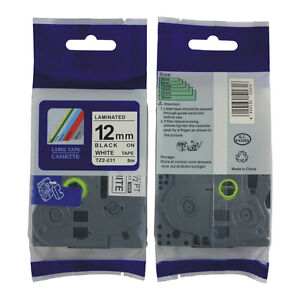 2PK Black on White 12mm Compatible Brother TZ 231 TZe 231 P-Touch label 26.2ft
